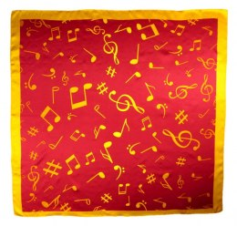 AN-014 Large Silk Scarf with Sheet Music, 85x85 cm