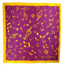 AN-018 Large Silk Scarf with Sheet Music, 85x85 cm