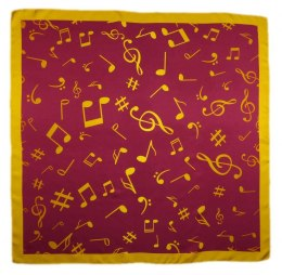 AN5-012 Small silk scarf with sheet music, 55x55 cm